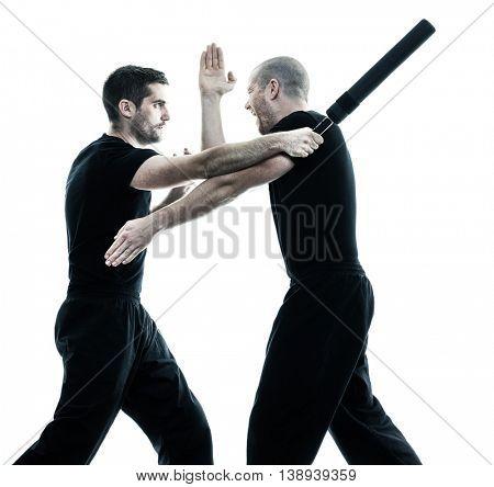 men fighting isolated
