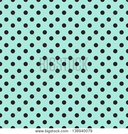 Abstract geometric seamless pattern with black dots on blue background. Vintage paper texture can be used for your design as wrapping paper. Seamless polka dot background