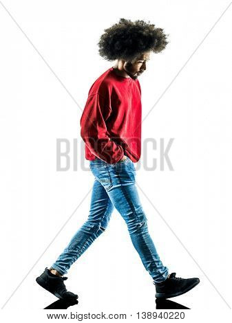 african man walking  isolated