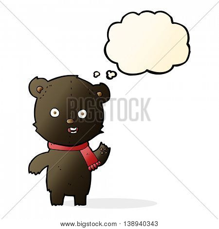 cartoon waving black bear cub with scarf with thought bubble