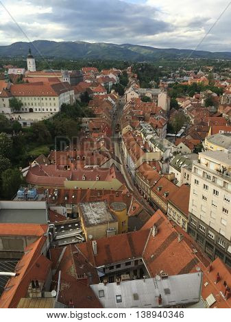 Panoramic view of St. Mark's Church on upper town in Zagreb, capital of Croatia