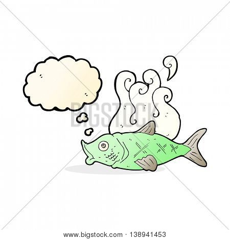 cartoon smelly fish with thought bubble