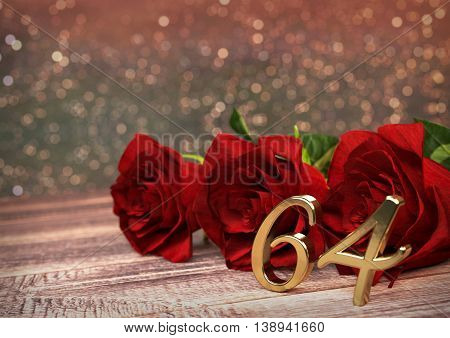 birthday concept with red roses on wooden desk. 3D render - sixty-fourth birthday. 64th