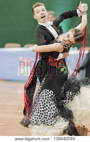 Minsk Belarus -May 28 2016: Shepelev Vladislav and Vinnik Aleksandra Perform Youth-2 Standard Program on National Championship of the Republic of Belarus in May 28 2016 in Minsk Belarus