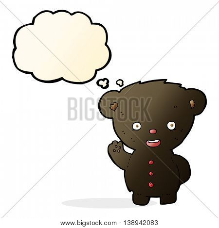 cartoon waving black bear cub with thought bubble
