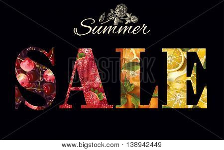 Vector summer sale banner with fruits and berries on black background.