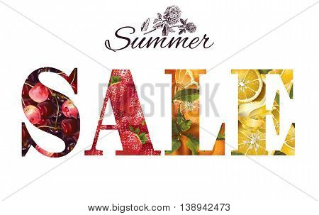 Vector summer sale banner with fruits and berries on white background.
