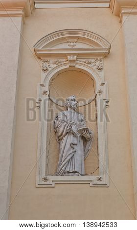 VALTICE CZECH REPUBLIC - MAY 29 2016: Statue of Saint Peter the Apostle on the facade of Church of the Annunciation of the Virgin Mary (circa 17th c.) in Valtice Czech Republic. UNESCO site