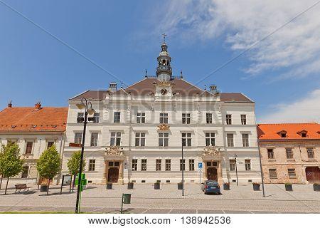 VALTICE CZECH REPUBLIC - MAY 29 2016: Neorenaissance City Hall (circa 1887) on Liberty Square in Valtice Czech Republic. Architect Josef Drexler