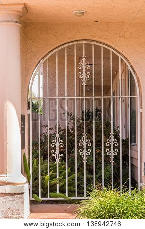 White Painted Cast Iron Grid Gate To The Garden, Closed
