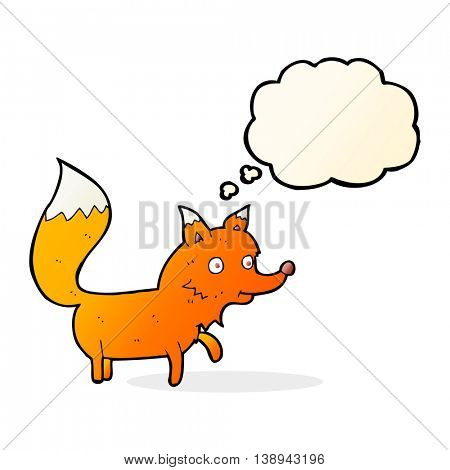 cartoon fox cub with thought bubble