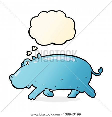 cartoon hippopotamus with thought bubble