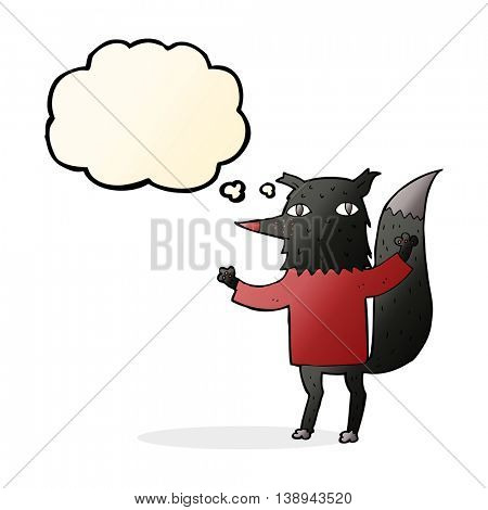 cartoon wolf with thought bubble