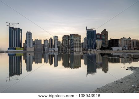 MANAMA, BAHRAIN - NOVEMBER 06, 2015: Beautiful view of some of the waterfront apartments and hotels in the city.