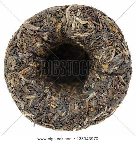 Raw green sheng puerh tea tuocha isolated
