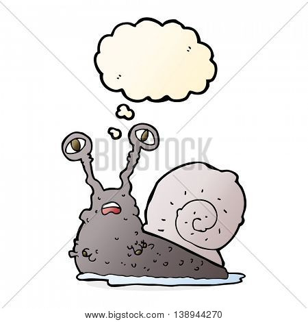 cartoon gross snail with thought bubble