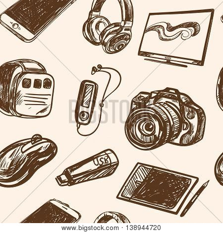 seamless pattern smart media devices and personal gadgets. Hand drawn realistic vector decoration