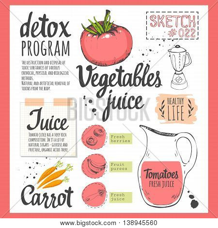 Useful drinks and fresh vegetables in sketch style. Vector illustration with natural juices drinks: smoothies, lemonade and kitchen equipment. Detox.