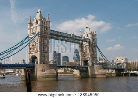 LONDON, UK - APRIL 18, 2009: View of the Tower Bridge Over the Thames River in London UK.