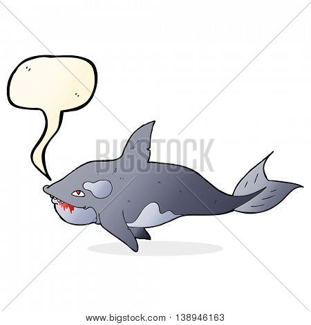cartoon killer whale with speech bubble