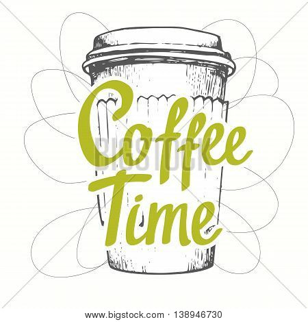 Drinks in sketch funny style. Brush calligraphy elements for your menu design. Handwritten ink lettering. More coffee.