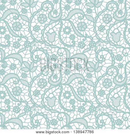 Blue lace seamless pattern with flowers on white background