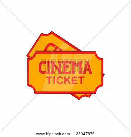 Movie ticket icon in cartoon style isolated on white background. Film symbol