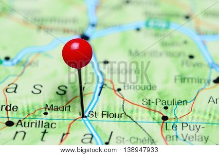 St-Flour pinned on a map of France