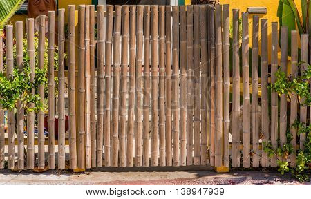 nice bamboo fence and closed bamboo gate straight shape