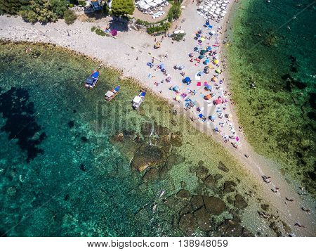 Top View of beach and island Isola Bella at Taormina, Sicily