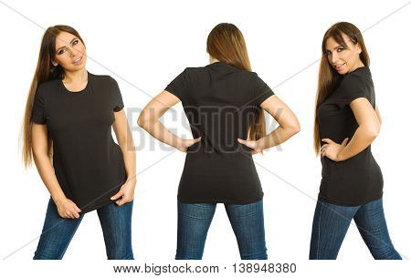 Young beautiful brunette woman with blank black shirt front back and side views. Ready for your design or artwork.