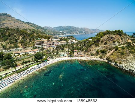 Aerial View of beach and island Isola Bella at Taormina, Sicily