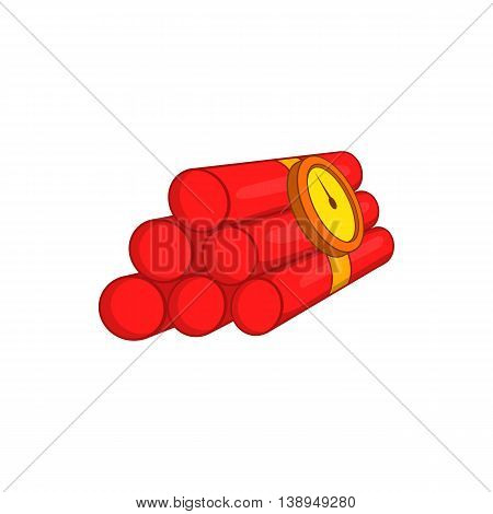 Dynamite icon in cartoon style isolated on white background. Explosion symbol