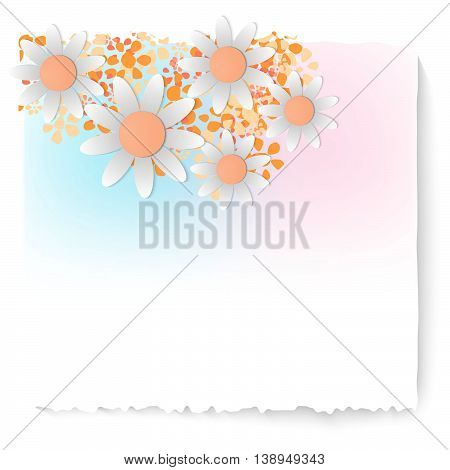 Slip of paper and different colored flowers