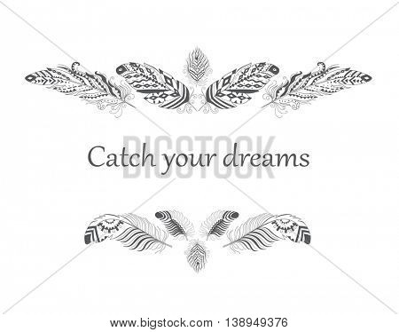 Vintage Frame with Feather in Boho Style. American Indian Motifs for T-shirt. Vector Ethnic Decoration.