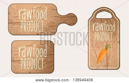 Wooden breadboard with the words raw food product