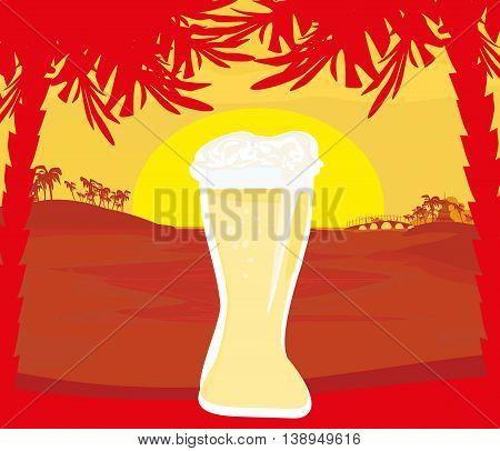 cold beer design on sunset landscape , vector illustration