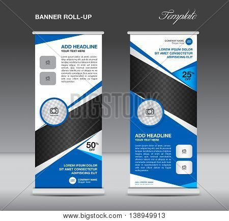 Blue Roll up banner stand template advertisement display vector design