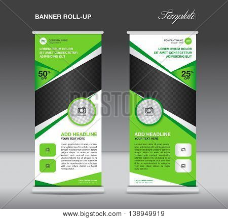 Green Roll up banner stand template advertisement display vector design