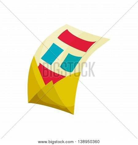 Envelope with letter icon in cartoon style isolated on white background. Message symbol