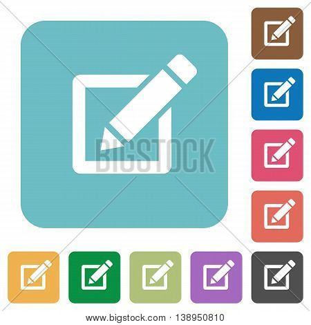 Flat editor icons on rounded square color backgrounds.
