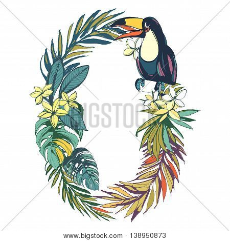 Vector illustration Tropical floral summer pattern hand drawn ornamental font set with palm beach leaves, flowers, flamingo and toucan birds. Letter O