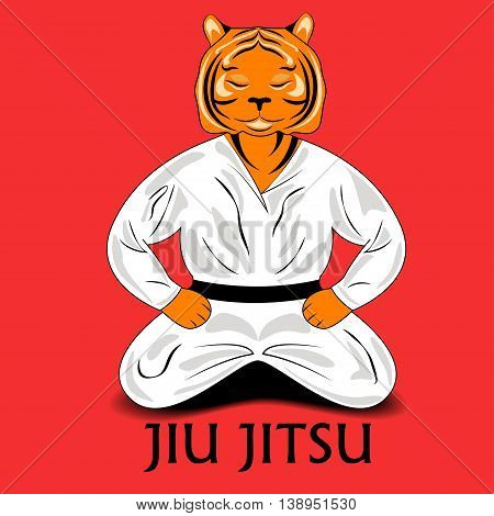 tiger is dressed in a kimono meditates in a pose