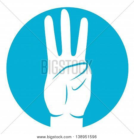 three fingers icon in white color on azure background