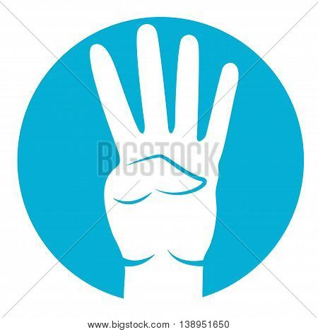 four fingers icon in white color on azure background