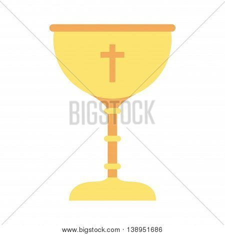 cup gold chalice first communion icon graphic isolated vector
