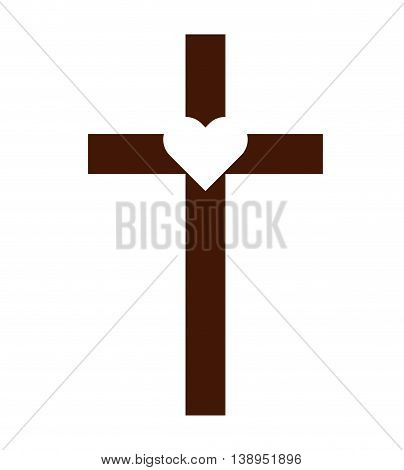 cross catholic heart icon graphic isolated vector