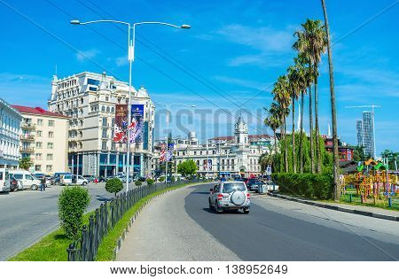 BATUMI GEORGIA - MAY 26 2016: The wide Gogebashvili street stretches along the coast and boasts beautiful buildings and green parks on May 26 in Batumi.