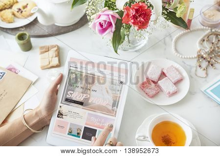 Shopping Online Tablet Women Shopper Concept