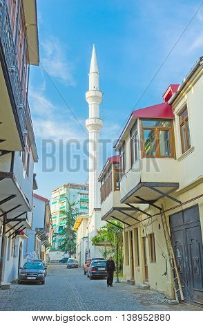 BATUMI GEORGIA - MAY 26 2016: The white minaret of Orta Jame Mosque located in Turkish neighborhood of the old town on May 26 in Batumi.
